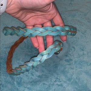 aqua braided belt